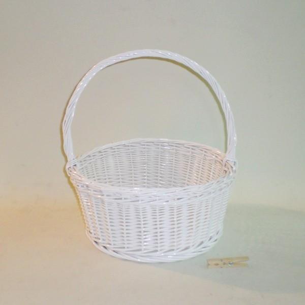 Comprar cesta redonda con asa color blanco en - Cestos de mimbre blanco ...