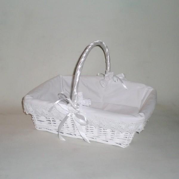 comprar cesta de mimbre rectangular blanca vestida en