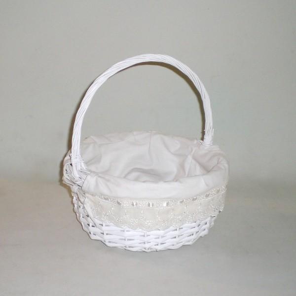 Comprar cesta de mimbre redonda blanco lazo en cesteriagretel com - Cestos de mimbre blanco ...