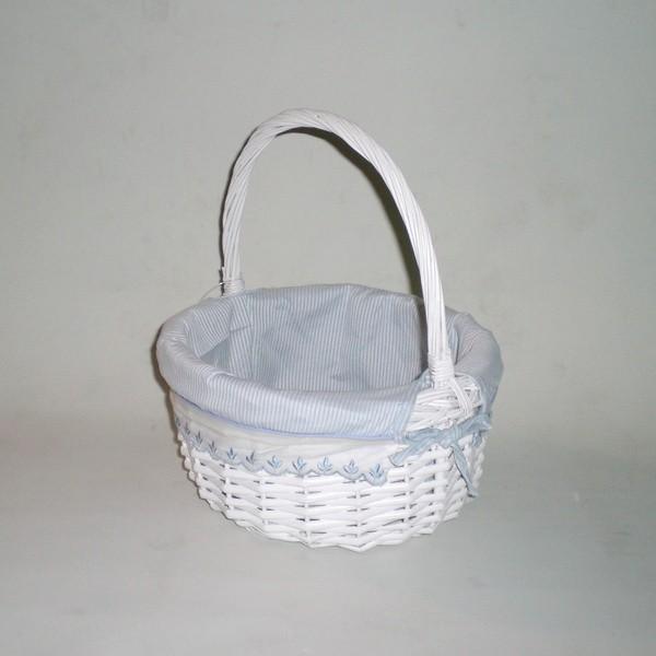 Comprar cesta de mimbre redonda blanco azul en cesteriagretel com - Cestos de mimbre blanco ...