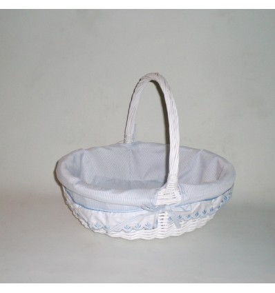 Comprar cesta de mimbre oval con asa blanco azul rayas en cesteriagretel com - Cestos de mimbre blanco ...