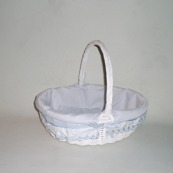Comprar cesta de mimbre oval con asa blanco azul rayas en - Cestos de mimbre blanco ...