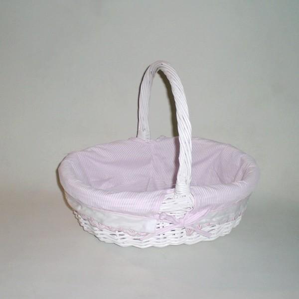 Comprar cesta de mimbre oval con asa blanco rosa rayas en cesteriagretel com - Cestos de mimbre blanco ...