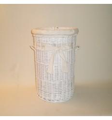 Ropero de mimbre de 60 color blanco con puntilla