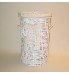 Ropero de mimbre de 70 color blanco con puntilla