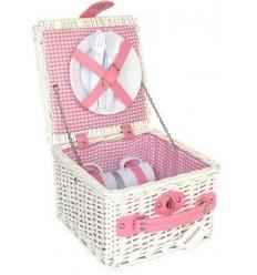 Cesto picnic blanco/rosa