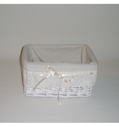 Cesta blanca con tela de lazo