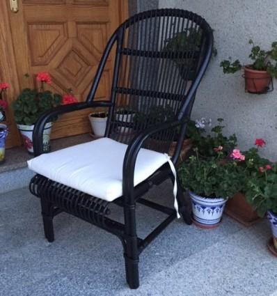Sillón bambú negro c/asiento