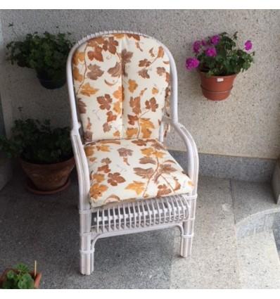 Sillón bambú blanco c/tapicería