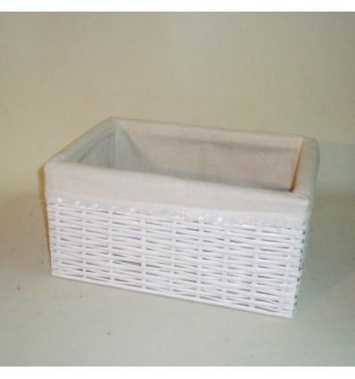 Cajón de tireta de mimbre color blanco